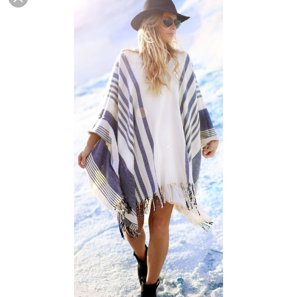 c066b3ad6a Free People Sweaters | Blue And White Poncho | Poshmark